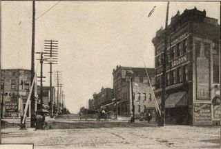 South Elm at the railroad looking south 1906
